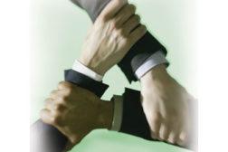 hands clinging together