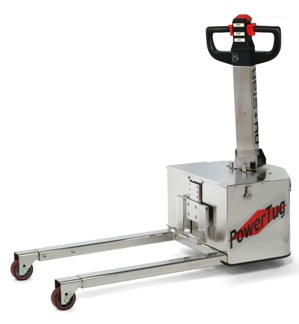 Stainless steel Power Tug ideal for maneuvering wheeled loads in food, pharmaceutical and other clean room applications.