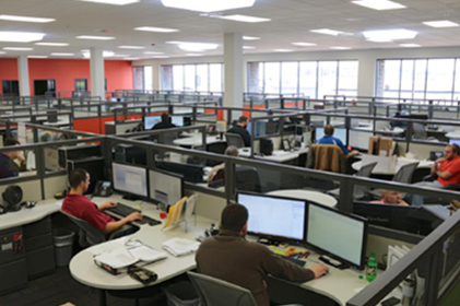 Interior view of open-plan offices