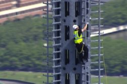 limbing the spire at One World Trade Center.