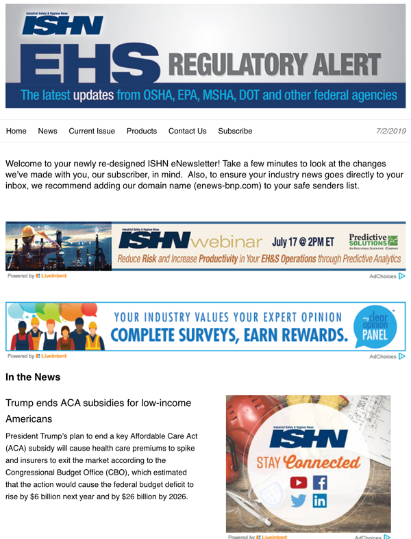 EHS Regulatory Alert eNewsletter.