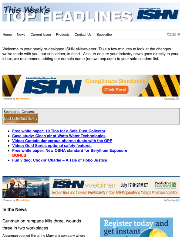 ISHN weekly eNewsletter.