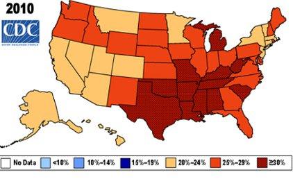 Obesity Us Map.Fatter Than Ever U S Obesity Rates Climb Higher 2012 08 15 Ishn