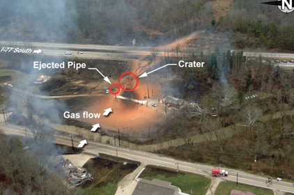 Natural gas pipeline rupture