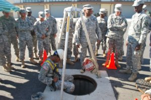 U.S. soldiers get confined space safety training in S. Korea.